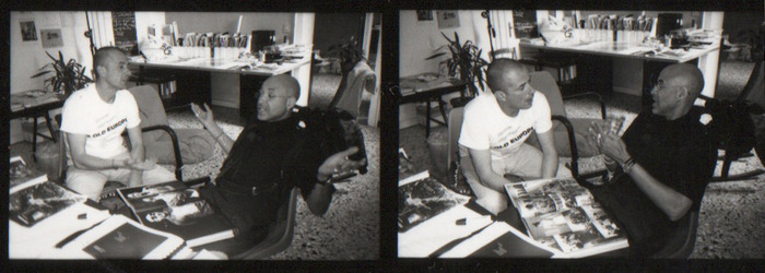 Stanley Greene editing his book Open Wound in Venice, 2003