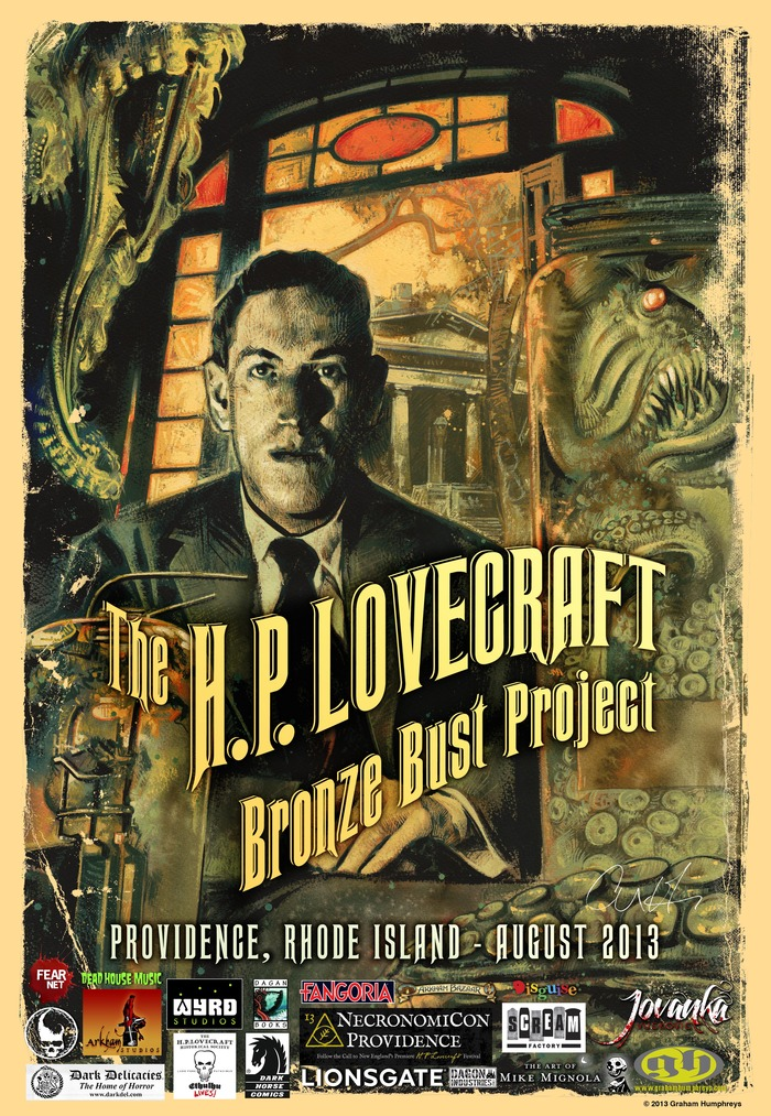 H.P. Lovecraft Bronze Bust Project Poster: Limited Edition 18x24 poster, painted exclusively for the project by Graham Humphreys