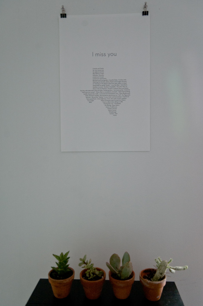 Original Texas poster listing things that I missed about Texas. I've changed some things for the new one.