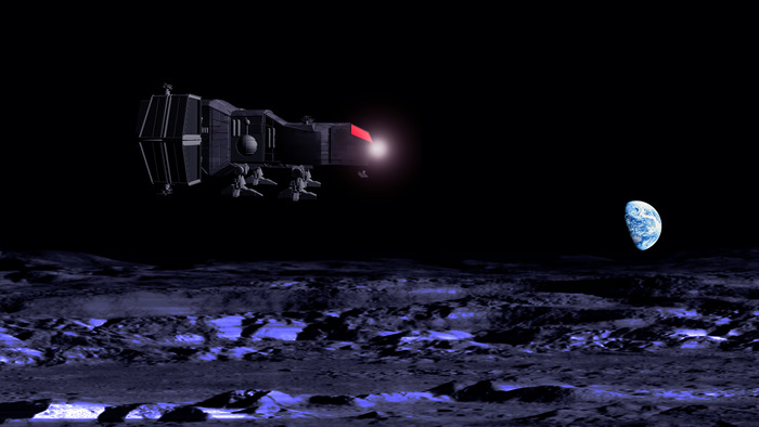 Concept Art - Cargo Ship in Lunar Darkness