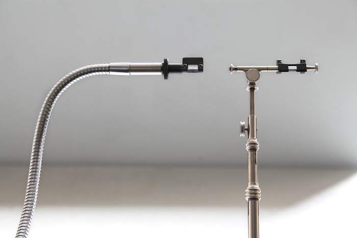 Left: Our NeoLucida, $40. Right: An antique Camera Lucida (c.1900), about $350 on eBay. Owing to modern innovations such as adjustable gooseneck, the NeoLucida has a considerably simpler design.