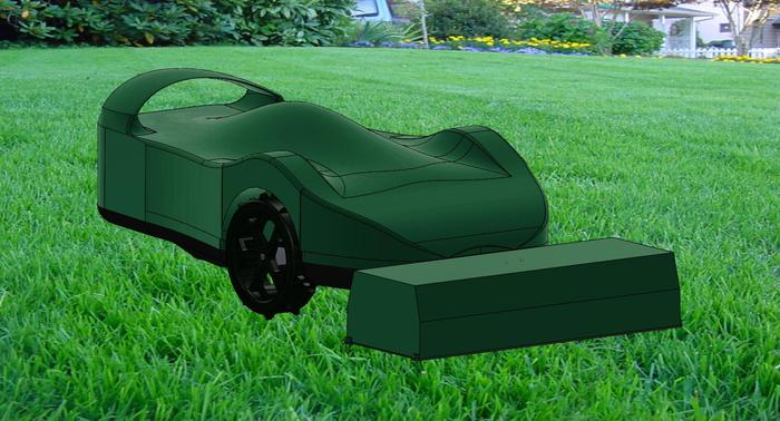 A 3D soliworks model of the new SmartMow Racer  (in Green) with docking station.