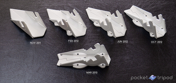 Design evolution of the Pocket Tripod shown through milestone rapid-prototypes.