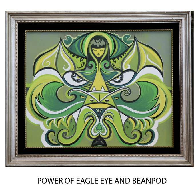 "$1500 REWARD: Eagle Eye + BeanPod: Rob Reger original 24"" x 16"" acrylic on canvas  (framed, comes with indexing rotation device that allows painting to be viewed on wall in 2 directions at 180 degree turns. 2 paingints for the price of one!)"