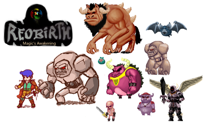 Very rough drawings of some of the ferocious monsters with our hero!