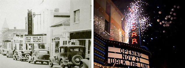 1939 when old cars really did line the streets, and the grand re-opening fireworks in 2005