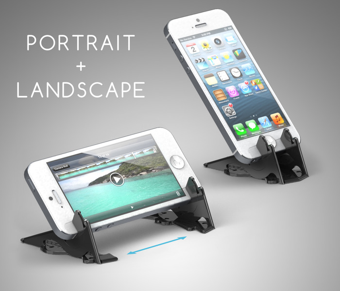 The Pocket Tripod can hold the iPhone both in landscape and in portrait.