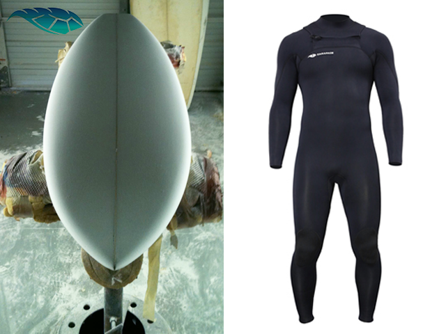 Custom Surfboard and Carapace Custom Wetsuit
