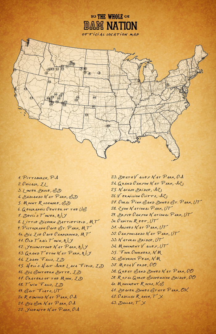 A map of the destinations for the road trip.