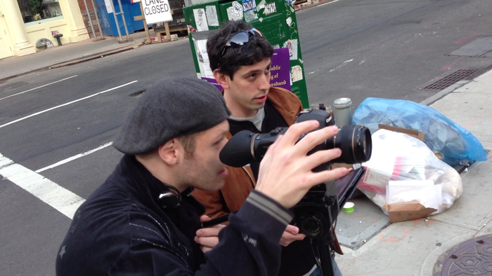 Matthew and Leal setting up a shot during the trailer shoot.