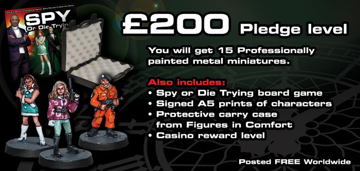 You will get 15 Professionally painted metal miniatures. Also includes Spy or Die Trying board game, Signed A5 prints of characters, Protective carry case from Figures in Comfort and the Casino reward level