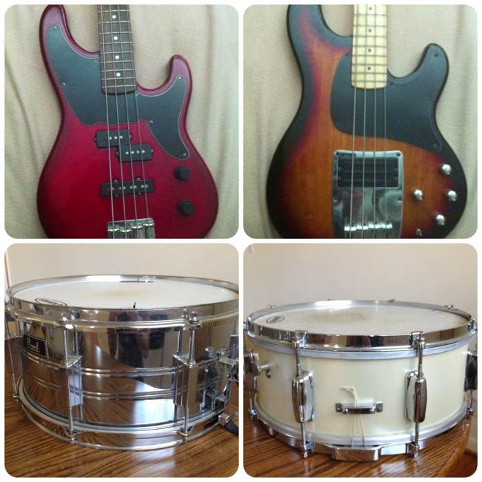 Clockwise from top left: 1996 Fender Precision Bass Special Edition, 1996 Ibanez ATK 300, Vintage snare (unsure of brand), Pearl steel shell snare