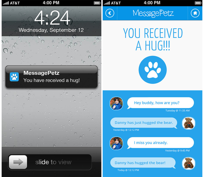 MessagePetz Hug Notification Screen And Dialog Screen