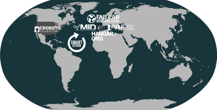 International collaboration map for the developers of the Smart Citizen Project.