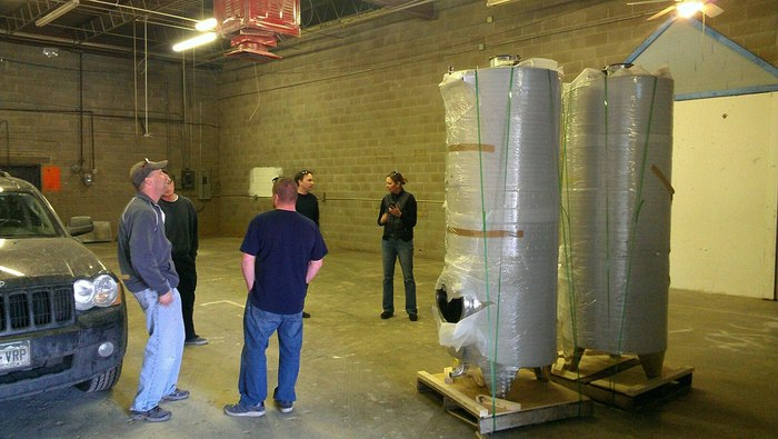 The fermenters in their new home. As you can see, we need to pretty-up this place.