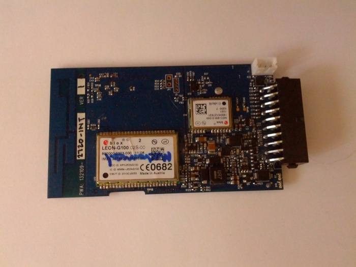 A close-up of the GSM module with on-board GPS
