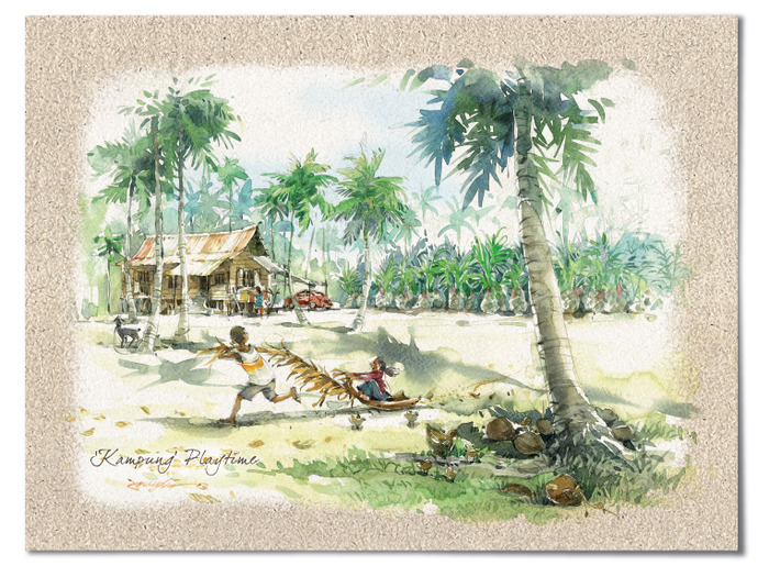 """Kampung Playtime"" – For some kampung (village) kids using a palm frond can be great fun!"