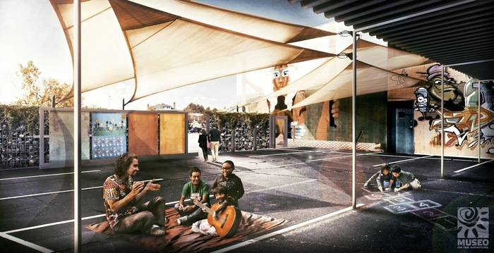 (After) proposed rendering of the parking lot turned community space