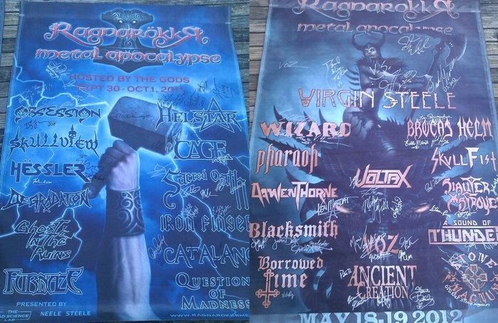 4'x6' signed mesh banners - Left: 2011, Right: 2012