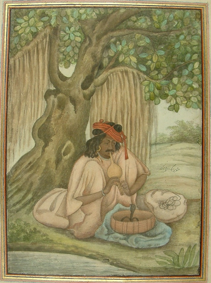 A Snake-charmer (Sanpera) in the Skinner Album of the British Library, AD 1825 (Add.27255, fol.323).