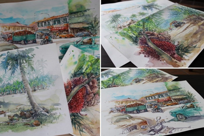 Three original watercolors by artist Jacky Chin