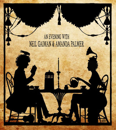 $90 velvet poster by Cynthia Von Buhler of Amanda Palmer & Neil Gaiman SOLD OUT