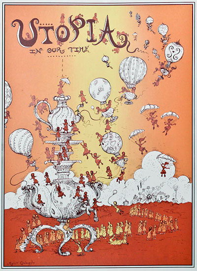 "$100 hand silkscreened print of Molly Crabapple's ""Utopia in Our Time"" SOLD OUT"