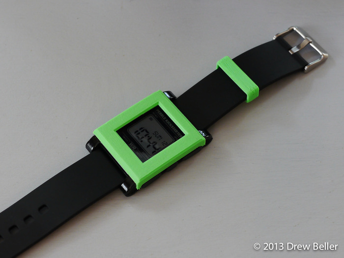 Bevel Design in Kickstarter Green with matching Watch Band Loop
