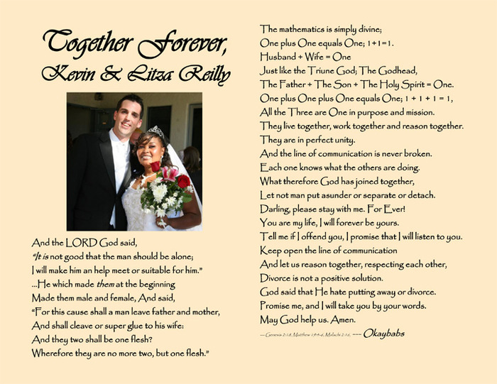 """Together forever"" husband's name & wife's name & your photo - personalized poem"