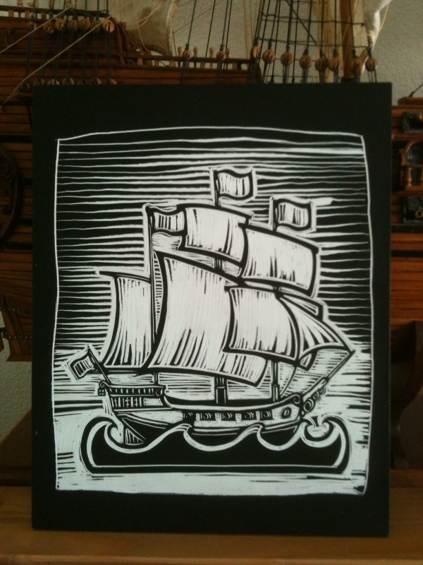Ship Mat scratchboard