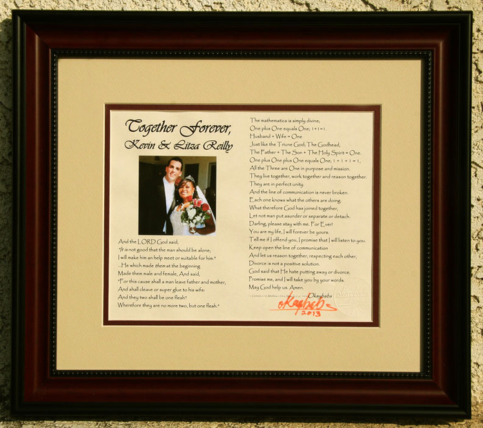 "FRAMED ""together forever"" husband's name & wife's name & your photo - personalized poem - 15""x17"" finished size"