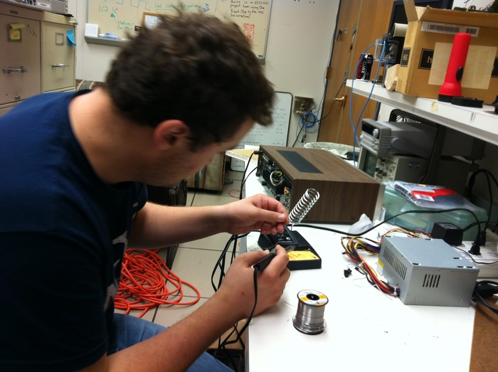 In our labs: Soldering away to perfection (mmm...sniffing solder...)