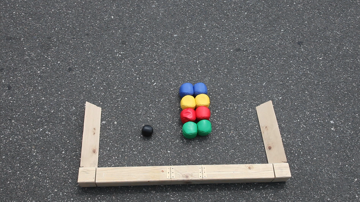One set comes with 8 Street Bocce Balls, a jack and 2 Street Bocce Backboards