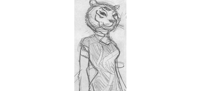 Concept sketch for Tiger-Mother by Kendall Goode.