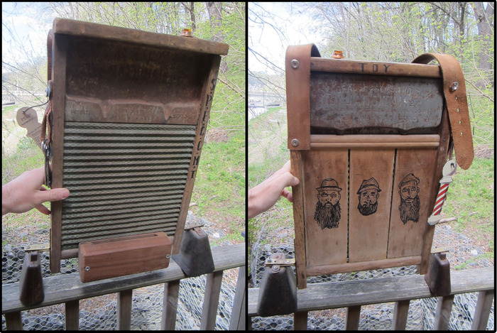 "Custom Washboard Hand Made w/ Etched Faces, and volume knob for what else ""MORE COWBELL."""