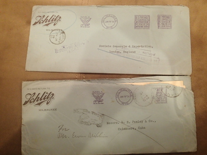 Return to sender Erwin Uihlein autographed 1933 letter/label