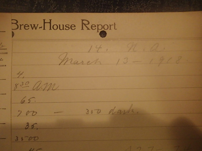 Brewing report  from 1918 signed with $125 package - $185