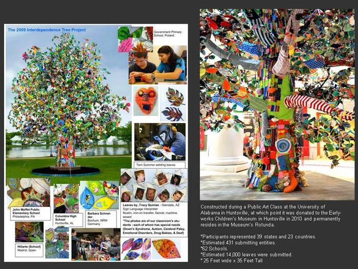 2009 Tree Project in Huntsville, Alabama (14,000 leaves, 8,300 participants, 62 schools, 23 countries, 39 states) On display in it's permanent home, Earlyworks Children's Museum, AL