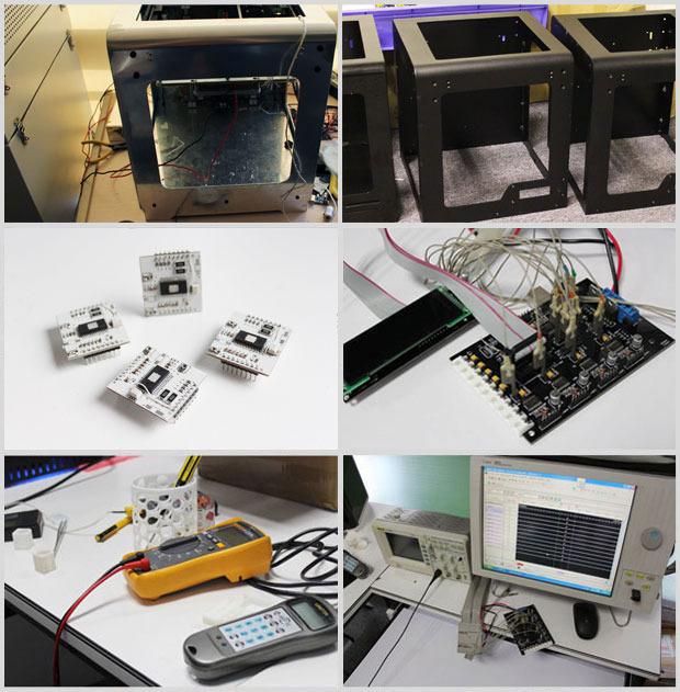 Prototypes, aluminum frames, electronics testing