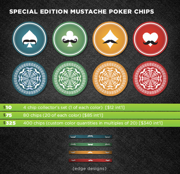 Mustache poker chips - add on to any reward level