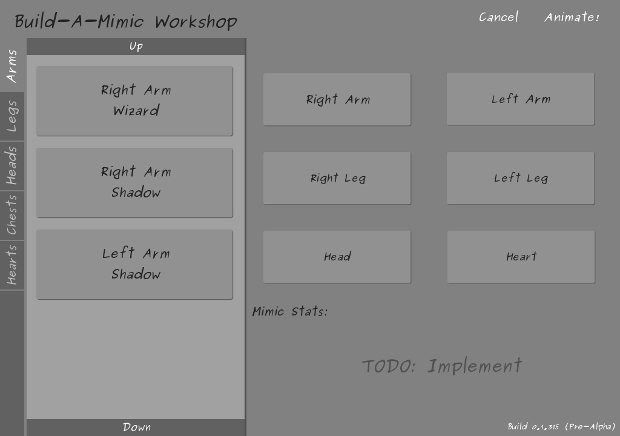The Build-A-Mimic Workshop! The final version will be vastly different from this (The slots will be shaped like a Mimic, for instance). For now, though, this gets the job done! :)