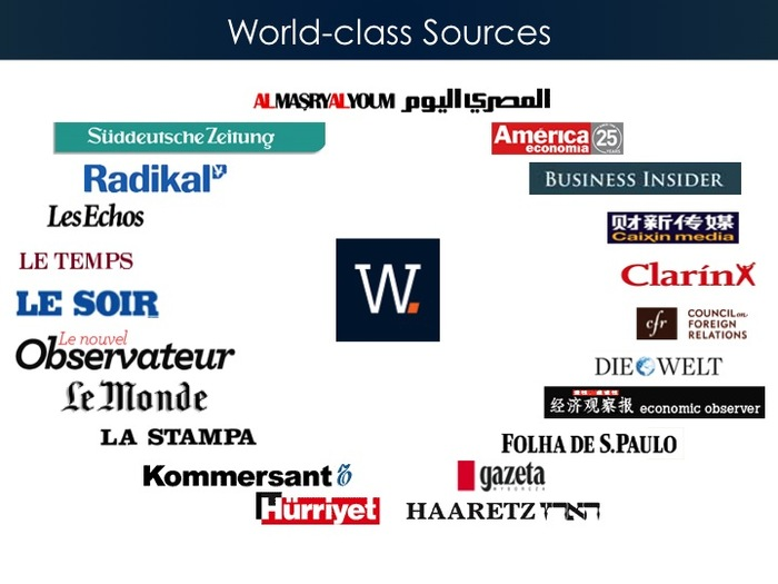 Our sources span 5 continents and 15 countries