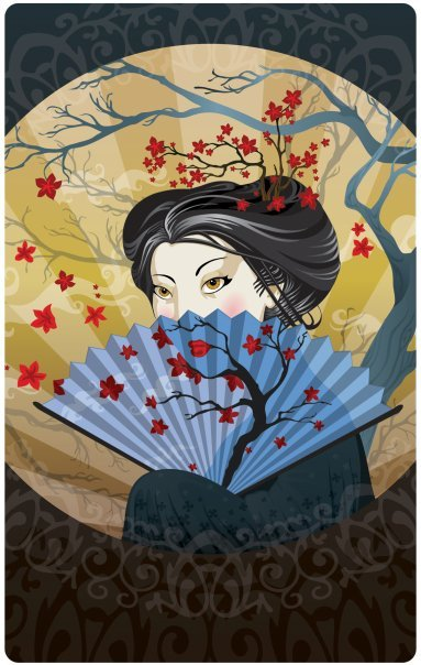 Hot Japanese Lady Holding Awesome Fan, by Kathren Moss (inspiration for her suit pieces)