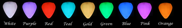 The 9 LED light colors available to Kickstarter backers