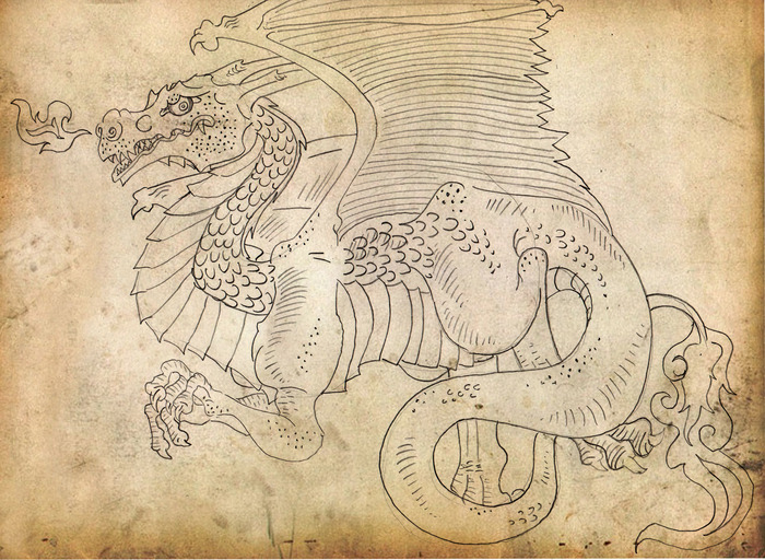 Ancient drawing of a Charizard