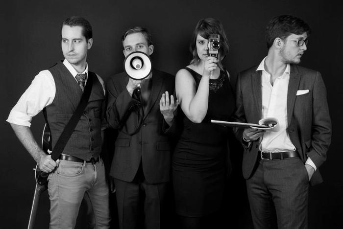 The Airship Cinema Development Team.  Left to right: Matthew Riggs, Cameron Laventure, Maria Palmö, and Brandon Laventure
