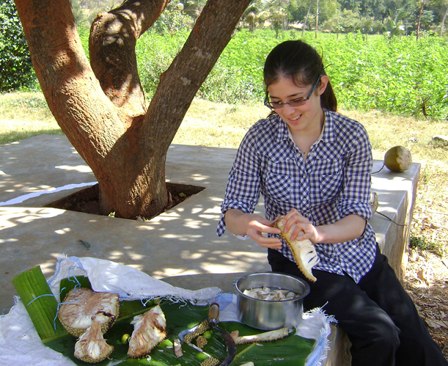 Annie tries to prepare tender jackfruit for cooking.