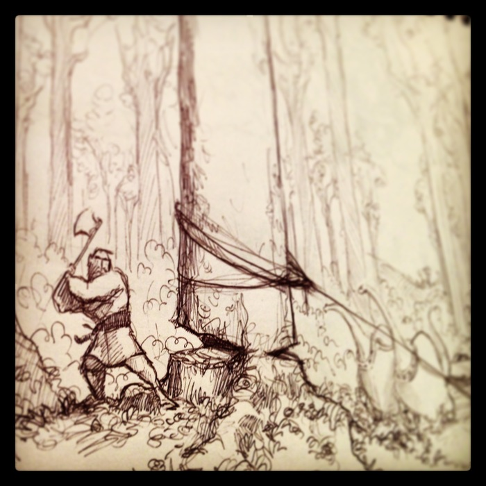 Early concept drawing of Noah felling the Gopher Wood