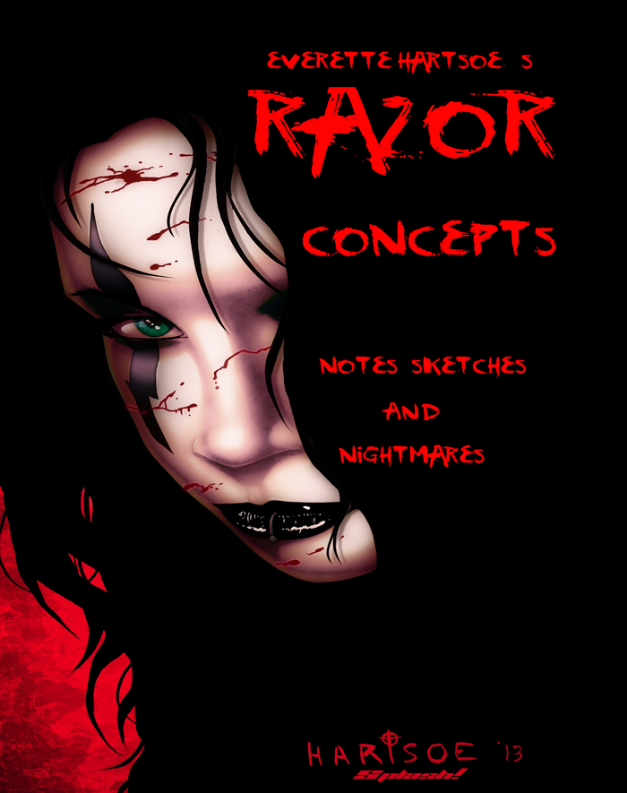 concept notes and sketches given to the producers of the RAZOR movie development. Now you can have the inside track on how a comic property transitions into a film property.