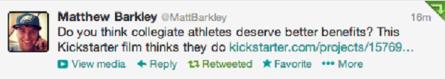 Matt Barkley tweets about the project